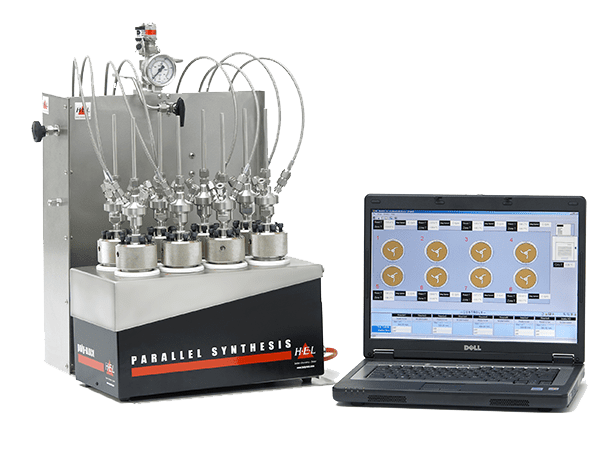 This is a semi-automated 4 or 8 sample system where each sample can be at separate pressure temperature and all samples are stirred individually. Sample vessels are typically 16ml but larger sizes are also available. Temperature of each sample is individually controlled through software and the pressure is normally selected manually