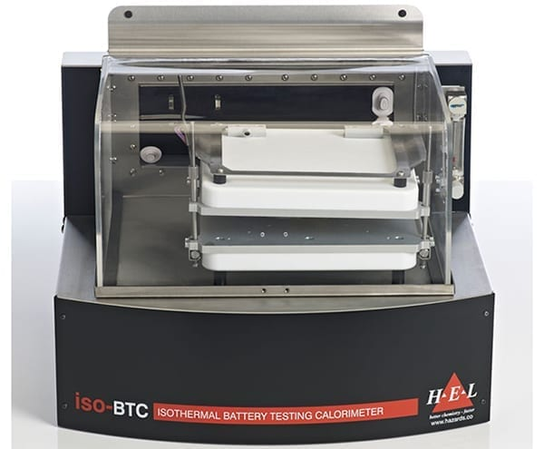 This stand-calorimeter is useful for generating thermal management data under isothermal conditions. iso-BTC measures the amount of energy generated during discharge while holding the battery temperature constant, thus performing the battery management task. Typically, the battery or pack is integrated with a cycler so that different charging/discharging routines can be programmed to determine the heat load over a range. iso-BTC provides thermal duty directly, in real-time, without any need for calibration, or offline calculation. Operation from -40 degrees to 100 degrees is possible pouch, prismatic and cylindrical batteries of virtually any size and shape can be tested