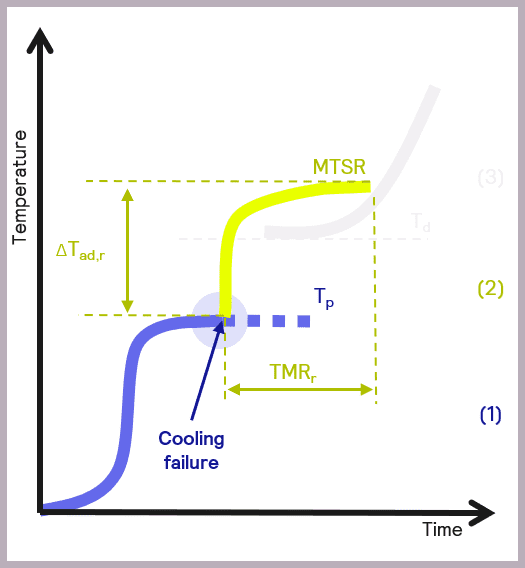 Schematic illustrating the key parameters of the thermal runaway of reaction